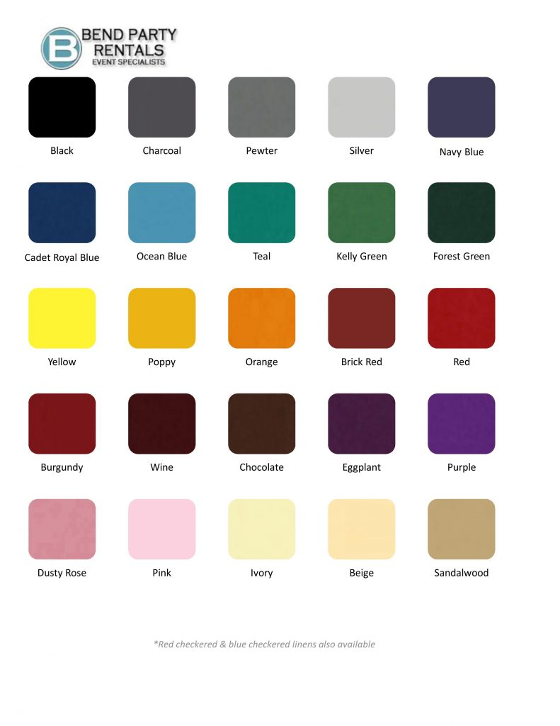 Bpr Table Linen Colors Amp Sizes Page 001 Bend Party