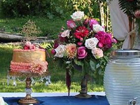 Queen Anne Gold Flower Pedestal Vases Bend Party Rentals