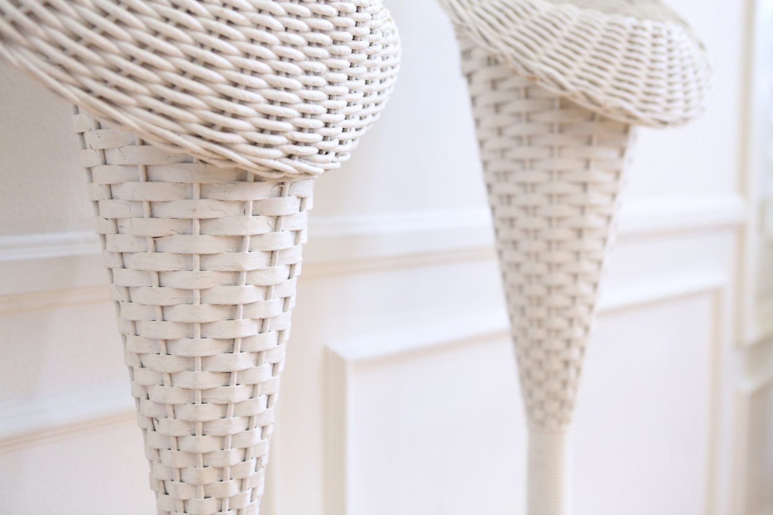Vintage White Wicker Flower Stand Bend Party Rentals